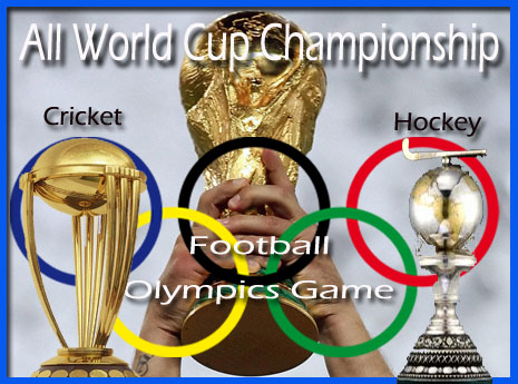 general knowledge questions about all world cup championship quiz in hindi (FIFA, hockey league, olympics, tennis cricket, T20, asian, national games) | list of all worldcup winner teams gold medals, trophy, host country, previous and next world cup dates and years related objective sports gk questions in hindi quiz.
