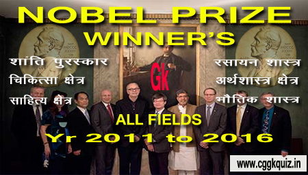 list of all nobel prize winner name and their field related gk quiz hindi | general knowledge questions about nobel prize winners name of peace prize, literature, physics, chemistry, physiology or medicine, economic sciences of year 2019, 2018, 2017, 2016, 2015, 2014, 2013, 2012, 2011 | nobel prize list hindi, nobel prize history gk question.