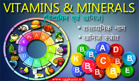 biology general science gk quiz hindi pdf, Vitamins and Minerals: Chemical and Their Source Name, general knowledge questions about vitamins type and their source for human body quiz | list of all vitamins and minerals of chemical name and their source name table and charts with important fact of science questions and answers gk quiz | online biology MCQs in hindi etc.