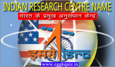 top science of Indian Gk space, nuclear, medical science and agriculture research institutes/centre name in Hindi with place about online quiz | general knowledge questions about space nuclear medical research centre name in Hindi quiz PDF | complete list of important research institutions and headquarters in India.
