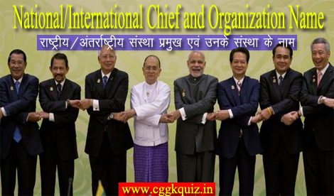 Gk quiz Hindi Indian chief officers name and related entity department, institutions name with all commission | general knowledge questions about country president, pm, ministers, organization, chairman, general secretary, managing director, corporation, banks association online objective questions with answers PDF.