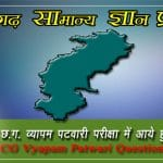 General Knowledge of Chhattisgarh MCQs- CG VYAPAM Patwari Question Paper